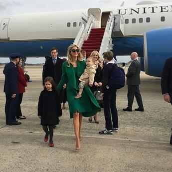 Ivanka Trump, Jared Kushner, arriving for President Trump's inauguration, with their children