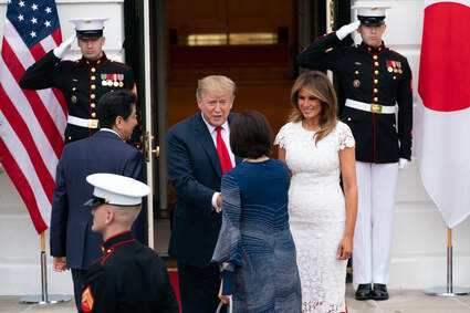 President, United States, Donald Trump, with wife Melania Trump, welcoming Prime Minister of Japan and his wife