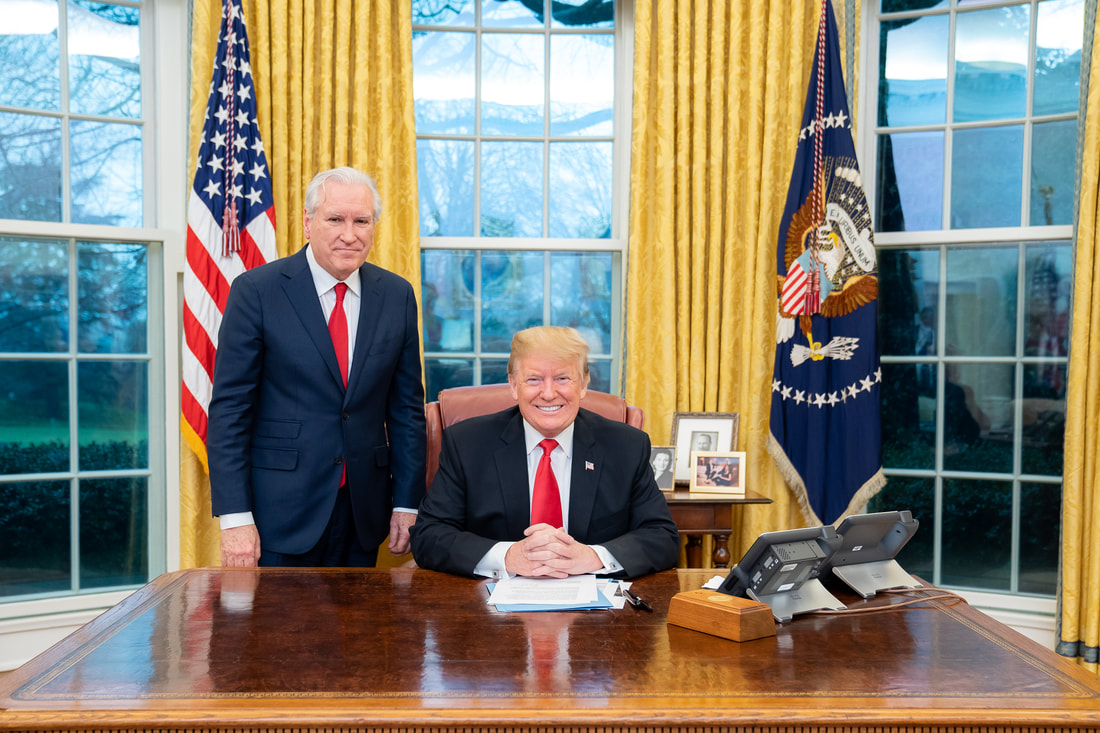 Historian Doug Wead, with President of the United States, Donald Trump, in the White House, Oval Office