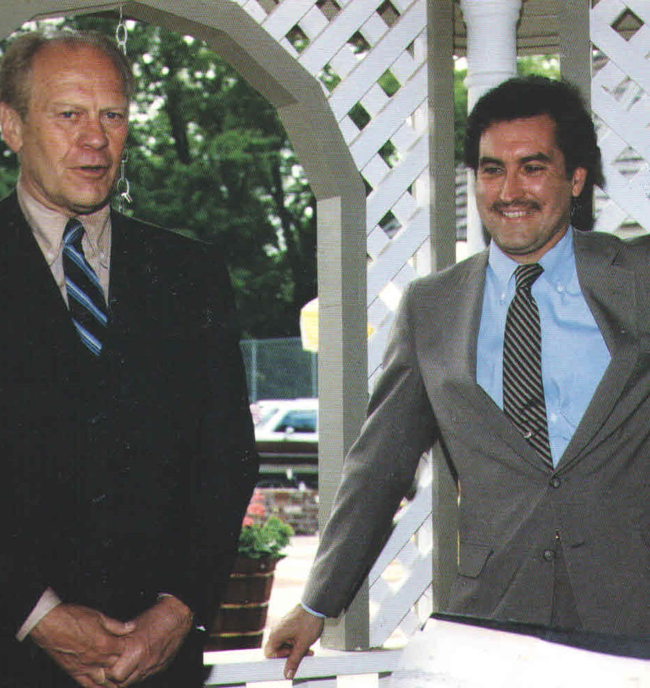 Historian, Doug Wead, with President Gerald Ford, in white gazebo