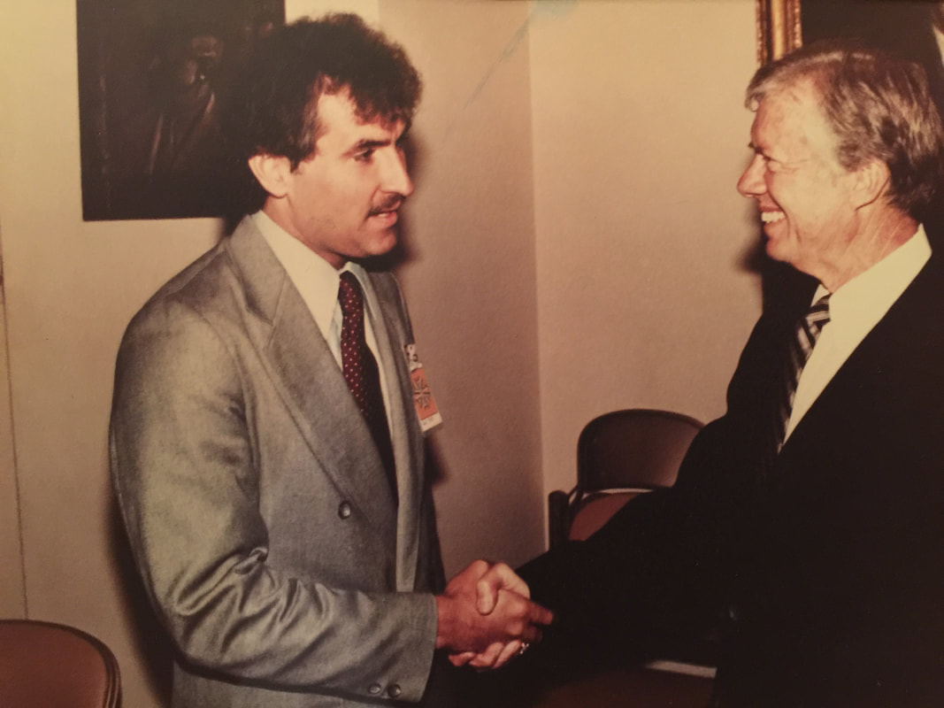 Doug Wead, shaking hands, with President Jimmy Carter