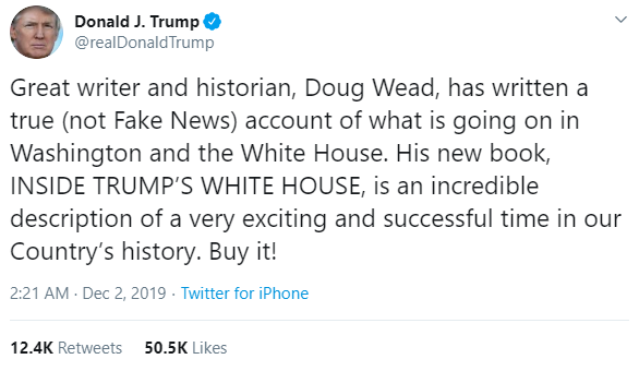 President Donald Trump, @realDonaldTrump, tweets about Doud Wead's, New Book, Inside Trump's White House